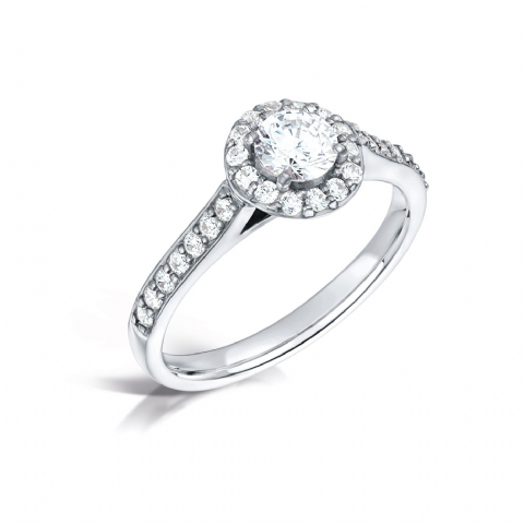GIA Certified G VS Diamond cluster ring, Platinum. Round brilliant centre stone - 0.75carat